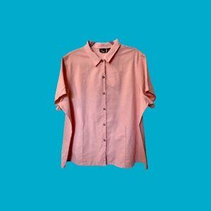 Ms. Lee Plus Size Linen Short Sleeve Button Down